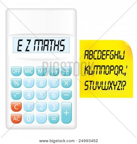 Vector LCD Alphabet, White Pocket Calculator & Yellow Note Paper Set