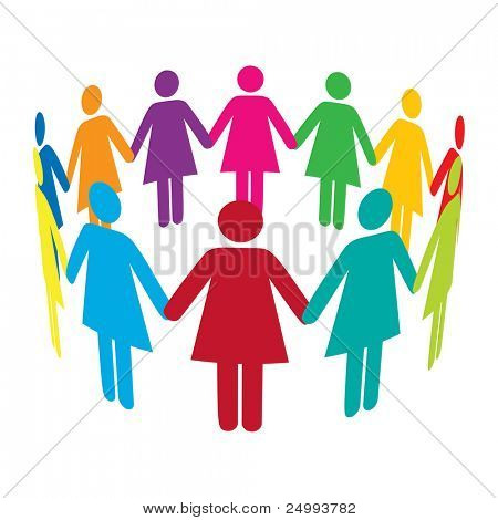 A circle of colourful women holding hands