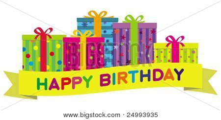 Colorful birthday gift boxes with a yellow banner wishing 'Happy Birthday'.  Gradient free illustration.