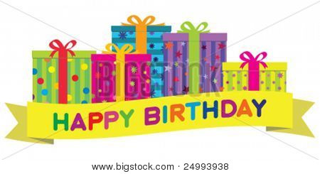 Vector colorful birthday gift boxes with a yellow banner wishing 'Happy Birthday'.  Gradient free illustration.