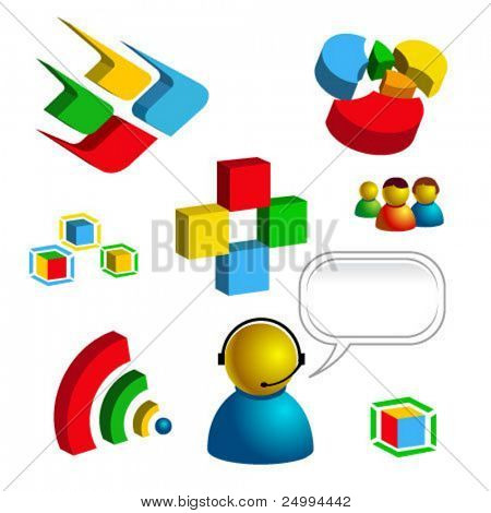 web business and technology related vector isolated icons