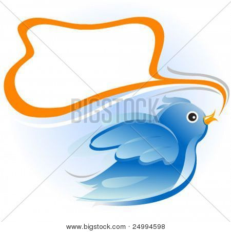 bird with blank message balloon