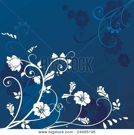 Blue frame with floral pattern