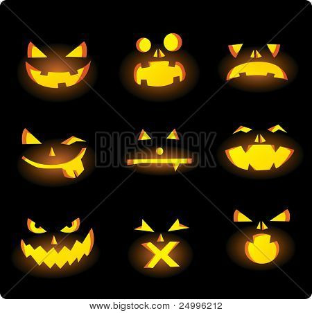 Scary carved pumpkins faces