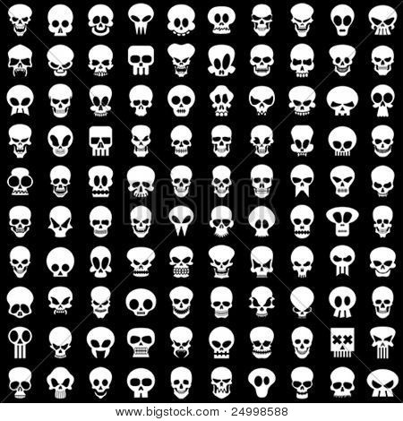 one hundred different skulls on black background