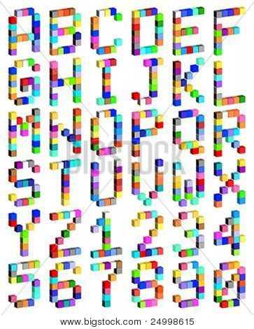Alphabet made of cubes