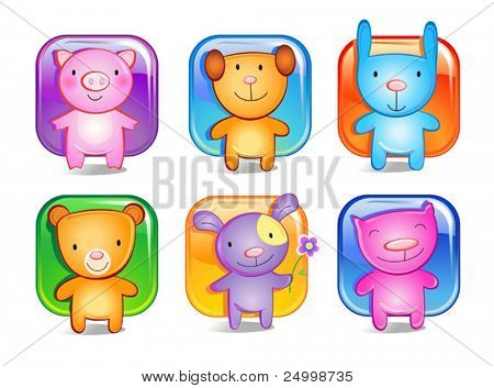 Cheerful cat, bear, pig, dog, puppy and the rabbit. A computer Illustration, animal-toys for children
