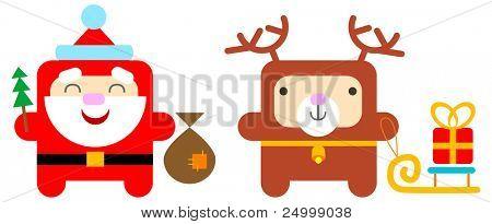 cartoon santa and deer