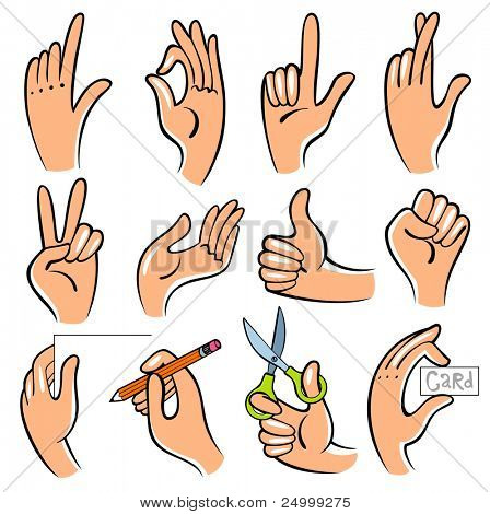 Vector  illustration of hands. Useful for the instruction how to create something.
