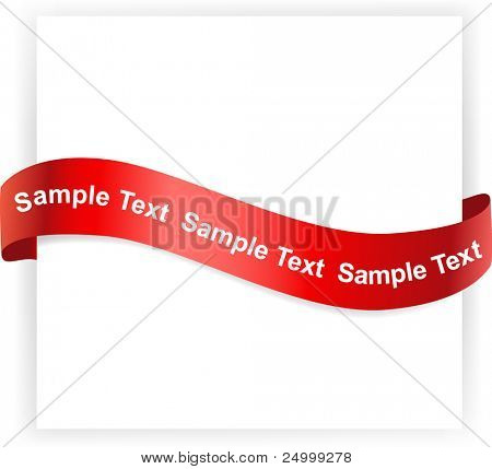 White banner with red ribbon on it