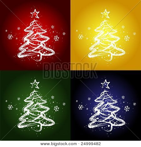 Four christmas trees