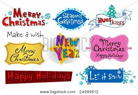 Congratulatory Christmas and  New Year's  inscriptions.