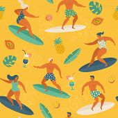 Surfing Girls And Boys On The Surf Boards Catching Waves In The Sea. Summer Beach Seamless Pattern V poster
