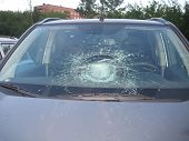 Broken Car Windshield, Dent On Glass, Trowel On Glass, Replacement Glass, Exterior View poster