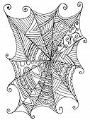Decorative Beautiful Spider Web, Children S Coloring Book. Pattern Isolated. Vector Hand Drawn Antis poster