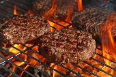 Close Up Beef Or Pork Meat Barbecue Burgers For Hamburger Prepared Grilled On Bbq Fire Flame Grill,  poster