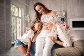 Open Shoulder Blouse. Pregnant Beautiful Woman Wearing Open Shoulder Blouse While Spending Unforgett poster
