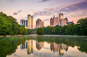 Atlanta, Georgia, USA midtown skyline from PIedmont Park. poster