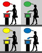 Female Voter Silhouettes With Different Colored Thought Bubble By Voting For Election. All The Silho poster