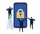 Mobile Device Security. Cyber Security Concept. Protecting Personal Information And Data With Smartp poster