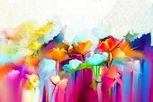 Abstract Colorful Oil Painting On Canvas. Semi- Abstract Image Of Flowers, In Yellow And Red With Bl poster
