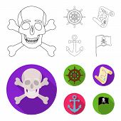 Pirate, Bandit, Rudder, Flag .pirates Set Collection Icons In Outline, Flat Style Vector Symbol Stoc poster