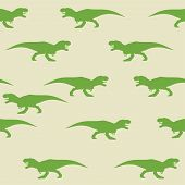 Dinosaur Tyrannosaurus Silhouette Pattern Seamless.  Illustration. Green Dinosaurs On Gray Backgroun poster