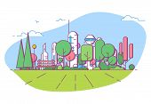 City Park Bench, Lawn And Trees. Flat Style Line Vector Illustration. On Background Business City Ce poster