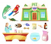 Pet Shop Animals And Products To Care Of Them. Food And Toys For Pets. Girl At Check-out Counter Of  poster
