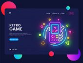 Retro Games Website Concept Banner Vector Design Template. Retro Game Light Banner In Neon Style, Re poster
