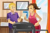 stock photo of personal trainer  - A vector illustration of a woman running on a treadmill with her personal trainer - JPG