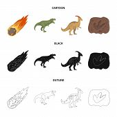 A Falling Meteorite, Parasaurolophus, Tyrannosaurus, An Imprint Of A Dinosaur Foot. The Dinosaur And poster