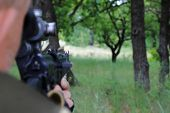 The Hunter Is Aiming At The Gun. Sighting The Gun Barrel At The Target. poster