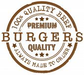 Grungy Round Premium Quality Burgers Rubber Stamp poster