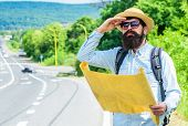 Old School Navigation. Backpacker Use Paper Map For Navigation. Orienteering Topographic Map. Touris poster