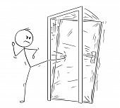 Cartoon Stick Drawing Conceptual Illustration Of Man Or Businessman Kicking The Locked Door. Busines poster