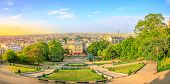 Scenic Panorama Of Paris At Sunset And Skyline Above Paris. Wide Angle View Of Staircase Of Sacred H poster