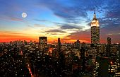 stock photo of new york night  - New York City midtown skyline at dark - JPG
