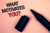 Text Sign Showing What Motivates You Question. Conceptual Photo Passion Drive Incentive Dream Aspira poster