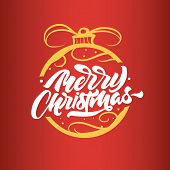 Merry Christmas Lettering On Toy On The Christmas Tree. Happy New Year 2019. Christmas Typography. M poster