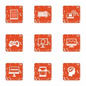 Leisure Activity Icons Set. Grunge Set Of 9 Leisure Activity Vector Icons For Web Isolated On White  poster