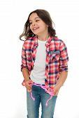 Kid Fashion. Fashion For Kid. Happy Kid Isolated On White. Fashion Model Child. Fashion Kid In Check poster
