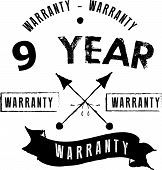 9 Years Black Warranty Icon Stamp Guarantee Vintage poster