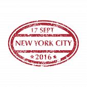 Colored Grungy Postal Stamp From New York. Isolated Vector Illustration. poster