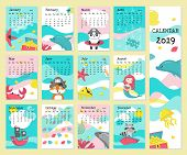 Year 2019 Calendar Vector Template. Yearly Calendar Showing Months With Cute Pirate Animals, Pirate  poster