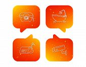 Retro Phone, Video Camera And Mailbox Icons. Bath Linear Sign. Orange Speech Bubbles With Icons Set. poster