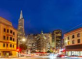 San Francisco downtown skyline at dusk from china townl in San Francisco, California, USA. poster