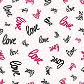 Love Seamless Pattern. Vector Texture With White Handwritten Words. Valentines Day Background. Cute  poster