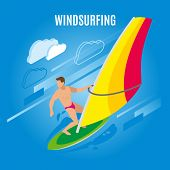 Surfing Isometric Background With Figure Of Male Character On Surf Board With Sail And Clouds Images poster
