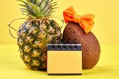Pineapple, Coconut And Binder Notebook. Tropical Vacation Concept. Time For Planning Vacation. Tips  poster